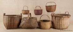 $492  Seven split oak baskets, to include buttocks form, etc.