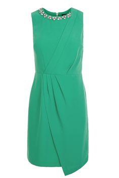   Green Madison Embellished Crepe Dress   Oasis