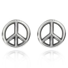 Tressa Sterling Silver Peace Sign Stud Earrings | Overstock.com Shopping - Top Rated Tressa Children's Earrings