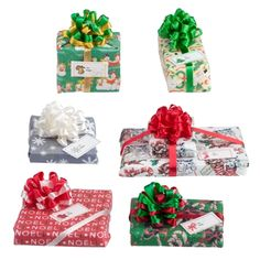 1:12 Six Assorted Christmas Presents with Pom-Pom Bows