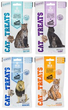Big Cat Rescue Freeze Dried Treat Cats Sampler Pack (1 each Dried Rabbit Chicken Ahi Tuna and Minnows)