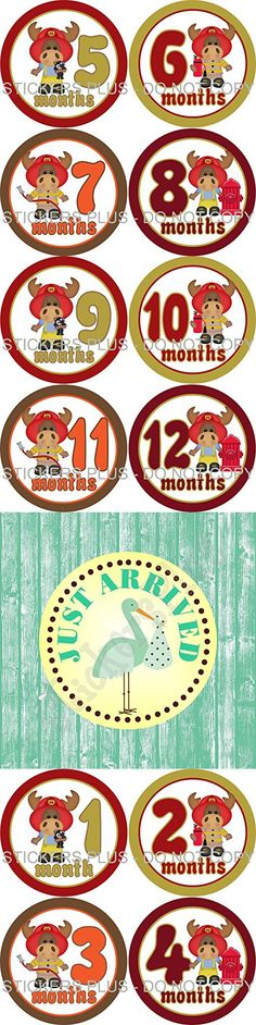 Baby Boy Month Stickers Monthly Baby Milestone Stickers Bodysuit Age Stickers Fireman Firemen Fire Fighter Moose Baby Age Stickers