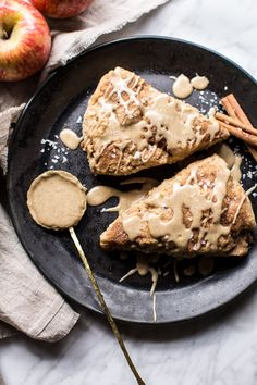 Brown Butter Maple Glazed Cinnamon Apple Scones - Delicious, simple and ready in under 30 minutes. The perfect way to kick off fall! @ halfbakedharvest.com