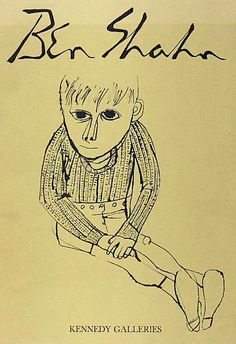 Kennedy Galleries cover by Ben Shahn Children's Book Illustration, Graphic Design Illustration, Graphic Art, Ben Shahn, Social Realism, Jewish Art, American Artists, Line Drawing, Word Art