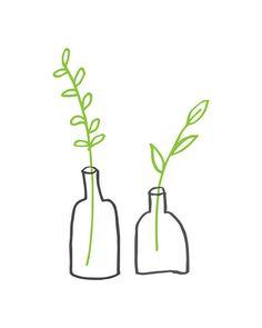 Minimalist Small Plants Downloadable Art Print  I drew this simple plant…
