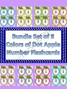 Dotted Apple Number Flashcards 0-100 8 Color Bundle from My Kinder Garden on TeachersNotebook.com (421 pages)  - Here is a large bundle of 8 different color number flashcards with numbers 0-100. The bundle includes my dotted apple number flashcards in colors bright blue, golden yellow, lime green, orange, pink, purple, red, and turquoise.
