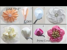 Flower Kanzashi Master Class hand made DIY Tutorial Канзаши МК Лист розы - YouTube