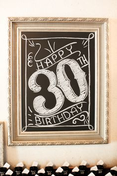Black & Gold 30th Birthday party. Love this chalkboard welcome sign!