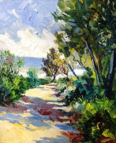 denis ribas 2016 07 81x65cm le chemin vers la mer au cap martin it was fine. Had a meeting after. You done for the day