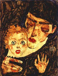 MUTTER UND KIND-I (MOTHER AND CHILD) Egon Schiele (Tulln 1890~1918 Vienna)