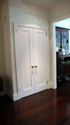 Create a New Look for Your Room with These Closet Door Ideas and Design Ikea, modern French Closet Doors, Bedroom Closet Doors, Hallway Closet, Laundry Room Doors, Laundry Closet, French Doors, Front Closet, Ikea Closet, Attic Closet