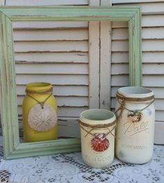 sand sea shells beach decor | Painted Mason Jars with Sand Dollar & Sea Shells