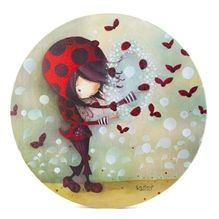 Toile ronde Ketto- Fille Coccinelle / Ketto's round canvas -Ladybug girl  * www.kettodesign.com