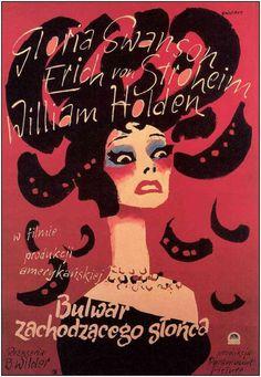 """Cartel polaco de""""El Crepúsculo de los Dioses"""" (Sunset Boulevard), de Billy Wilder, 1950"""