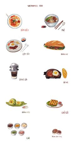 Vietnamese food on Behance - Food Illustration Vietnamese Recipes, Vietnamese Food, Korean Food, Food Doodles, Viet Food, Food Sketch, Food Cartoon, Watercolor Food, Food Painting