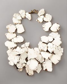 Nest Clustered Howlite Necklace - Neiman Marcus - Make a knock-off using our Natural Howlite Slab beads: http://www.happymangobeads.com/naturalmagnesiteslabbeads16-23mmgs1563.aspx