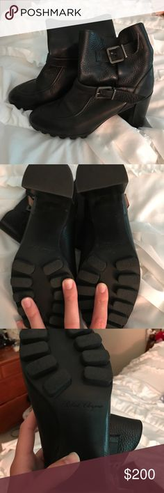 """ROBERT CLERGERIE BOOTIES Black Nubuck Leather. Worn less than 5 times. Beautiful condition and comes a little higher on the ankle. 3"""" heel. Fits a 9 or 9.5 Robert Clergerie Shoes Ankle Boots & Booties"""