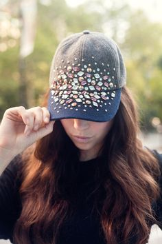 DIY This Gorgeous Crystal-Crazy Baseball Hat! #Refinery29