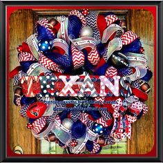 Custom Made original Houston Texans Mega chevron, polka dot, burlap, deco mesh, ribbon wreath that will look great to show your team spirit on your front door! Go Texans!