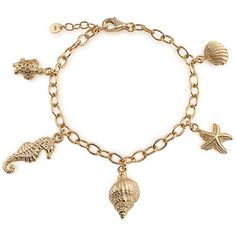 Bling Jewelry Bling Jewelry Gold Vermeil Conch Seashell Starfish... ($81) ❤ liked on Polyvore featuring jewelry, bracelets, gold tone, shell bangles, turtle shell jewelry, turtle charm bracelet, beach jewelry and beachy jewelry