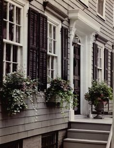 Grey Houses With White Trim - Grey Paint, White Trim, Black Shutters - Our Little Big House Siding Colors For Houses, Exterior Siding Colors, Exterior Paint Colors For House, Exterior Trim, Paint Colors For Home, Exterior Design, Paint Colours, Black Exterior, Grey Siding