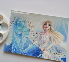 """Tas KreationStudio on Instagram: """"*SOLD* Original Elsa Watercolour 😄 I love this scene its so magical and just had to add Gale! A5 (5.8x8.3"""") painting listed in my Etsy,…"""" Disney Princess Drawings, Disney Drawings, Elsa Frozen, Disney Frozen, Game Of Thrones Drawings, Walt Disney Pixar, Disney Animated Movies, Disney Artwork, Guache"""