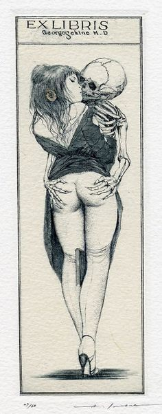 Ex Libris, Alphonse Inoue. Death and the Maiden. Death grim reaper Father Time scythe maiden girl woman dance danse macabre skull skeleton