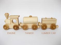 Wooden Toy Train Set 3 Cars of Your Choice Natural Maple This all natural 3 car train set is a great train set for the little ones. The cars are durable, are easily hooked together and are constructed of hard maple which can take a tumble or two from our little roughhousers. This listing is for 3 cars. Example: Engine, Log Car, Caboose Choose any combination of 3 cars from the 8 available cars: Engine, Coach, Tanker, Log Car, Car Transporter with Little Car, Lumber Car, Barrel Car, Caboose…