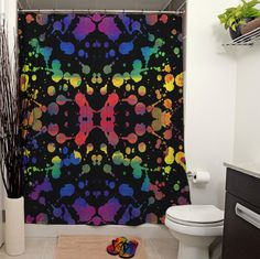 Rainbow Tears Black Shower Curtain by JanetAnteparaDesigns on Etsy, $65.00   Colorful paint splatter against a black background. Also available in white.  #bathroom #homedecor #home #showercurtain #curtain #bath #shower #windowtreatments #windowcurtains #paint #paintsplatter #splatter #dots #rainbow  #Etsy #rorschach #black #psychedelic