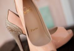 Elegant nude peep toes with crystal embellished heels by Christian Louboutin
