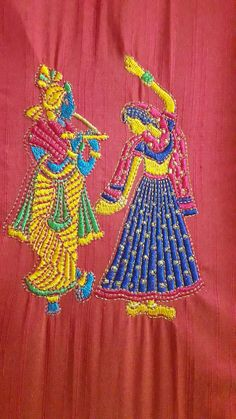 Radha krishna Zardozi Embroidery, Embroidery Sampler, Hand Embroidery Stitches, Embroidery Art, Embroidery Patterns, Machine Embroidery, Indian Embroidery, Embroidery Dress, Textile Patterns
