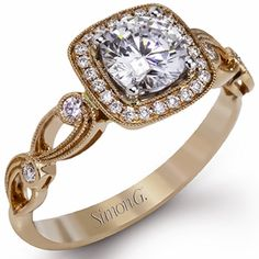Simon G.18K Rose Gold Vintage Style Floral Engagement Ring Featuring 0.15 Carats White Diamonds and a Cushion Halo. Style TR526