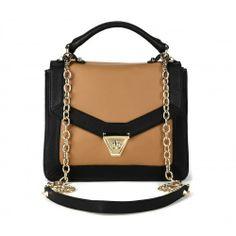 Lisette MEDIUM SHOULDER BAG W/ CHAIN - Luggage Black