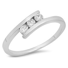 Carat (ctw) White Gold Round Cut Diamond Ladies Bridal Engagement 3 Stone Ring CT (Size -- A special jewelry just for you to view. Best Engagement Rings, Beautiful Engagement Rings, Engagement Ring Settings, Vintage Engagement Rings, Engagement Photos, Bridesmaid Jewelry Sets, Wedding Jewelry, Bridal Jewellery, 3 Stone Rings
