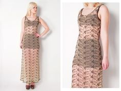 Vintage 1990s BETSEY JOHNSON Sheer Nude Embroidered Mesh Maxi Dress S
