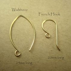 Gold earrings design your own, 14K gold filled ear wires Wishbone Shape!