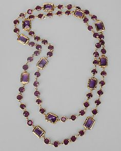 Chanel Vintage Amethyst Gold Plated 63' Sautoir Necklace