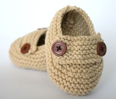 Sand Loafer Style Baby Knit Booties