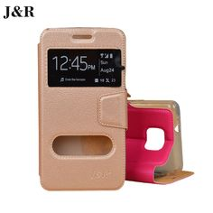 Window Case For Samsung Galaxy S2 SII i9100 GT-i9100 Flip Leather Cover With Stand Protective Case J&R Mobile Phone Bags & Cases