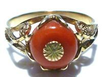 ESTATE FOREIGN 14K GOLD ORNATE SETTING CORAL WOMENS RING BAND SIZE 7.75