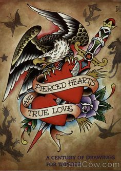 Pierced Hearts and True Love Don Ed Hardy Pop Art I like this without the bird Ed Hardy Tattoos, Traditional Tattoo Old School, Traditional Tattoo Flash, Retro Tattoos, Christian Audigier, True Love Pictures, Tatuagem Old Scholl, Ed Hardy Designs, True Love Tattoo