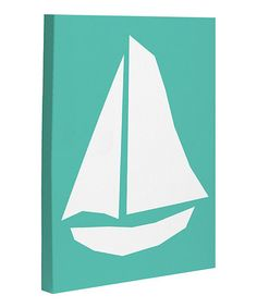 Take a look at this Aqua Vintage Sailboat Canvas Wall Art by OneBellaCasa on #zulily today!