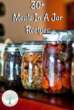 So, are you ready for some recipes to make some mason jar make ahead meals? Get over 30 recipes to get you started on stocking your pantry or for great gifts! The Homesteading HIppy via Best recipes Mason Jars, Mason Jar Meals, Mason Jar Gifts, Meals In A Jar, Gift Jars, Mason Jar Recipes, Soup In A Jar, Tarte Fine, Dehydrated Food