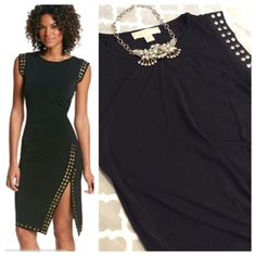 """MK Studded split hem dress Fabulous LBD by Michael Kors. Crew neck sleeveless dress with ruching at side to emphasize beautiful curves. Split asymmetrical hem with silver studs at sleeves and hem. 5% spandex for perfect fit and comfortable movement. Tagged as M, Measurements when laying flat: 16.5"""" chest and 38.5"""" total length. Beautiful condition- NWT MICHAEL Michael Kors Dresses"""