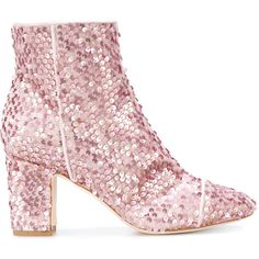 Polly Plume sequin embellished boots (2.040 RON) ❤ liked on Polyvore featuring shoes, boots, pink, fang, pink sequin boots, pink boots, sequin shoes, pink sequin shoes and sequin boots