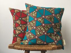 Red Delta African Print Pillow Cover by OSxN on Etsy