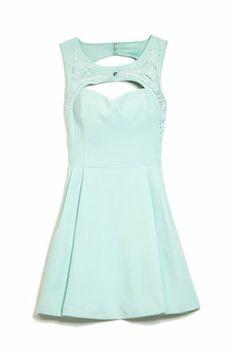 Studded-Yoke Cutout Dress