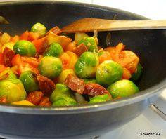 Le blog de Clementine: Choux de Bruxelles et chorizo au wok