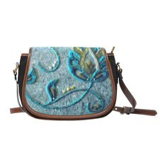 Gold Turquoise Jacobean Floral Crewel Saddle Bag/Small (Model 1649)