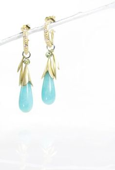 peruvian amazonite briolette long leaf drops on 18kt yellow beaded diamond hoops